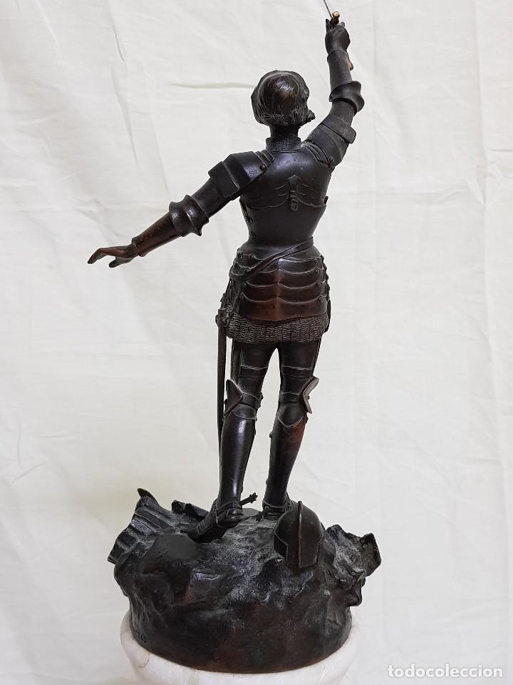Arte: Bronce de Juana de Arco. Firmado por el Conde de Astanieres. Finales siglo XIX - Foto 5 - 111386903