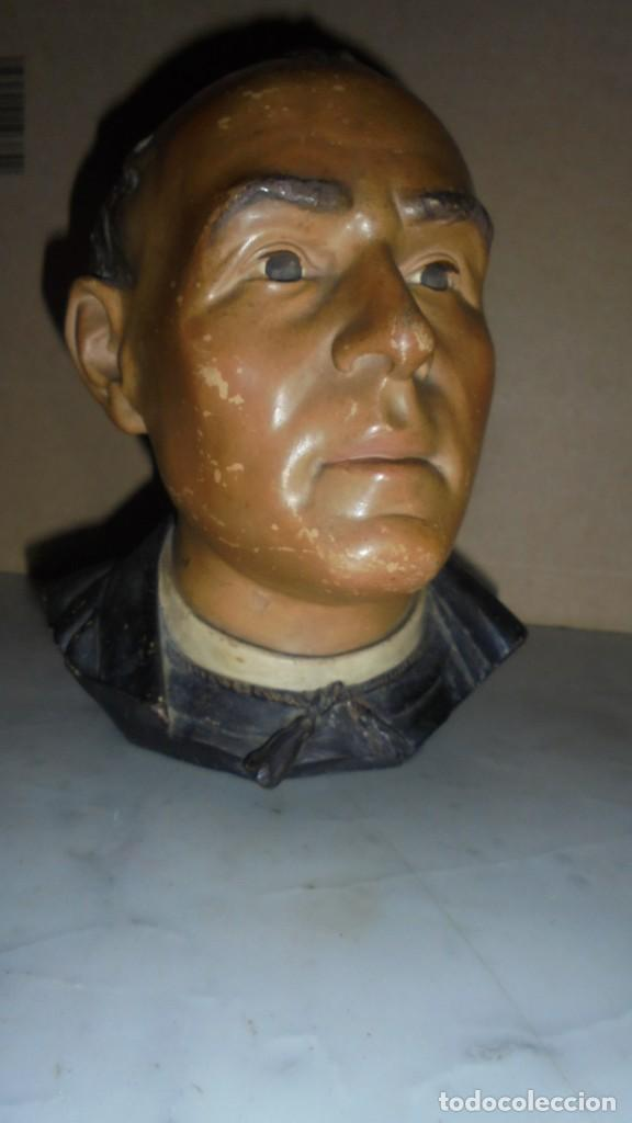 (M) BUXÓ - ANTIGUA TABAQUERA DE CERAMICA POLICROMADA BUXÓ CABEZA DE JACINT VERDAGUER , SACERDOTE Y (Arte - Escultura - Terracota )