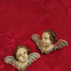 Arte: ANGEL PAREJA DE ANGELITOS QUERUBIN DE TERRACOTA 10 CM (NUEVOS). Lote 112596299