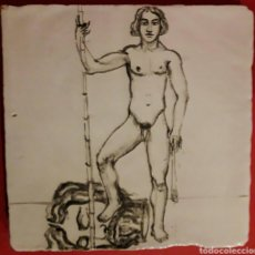 Arte: AZULEJO ESMALTADO AL AGUA A MANO CON MOTIVO DE DAVID Y GOLIAT. Lote 113116032