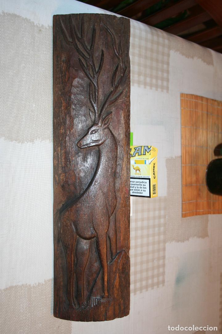 Arte: CIERVO *** ANTIGUA FIGURA TALLADA EN MADERA A MANO *** medidas: 55 cm x 14 cm - Foto 2 - 113408007