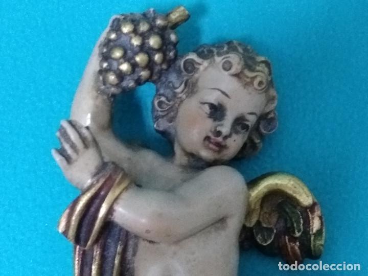 Arte: Bonita pareja de ANGELES CON FRUTA, en resina policromada, de GUERRINI Artesanía. - Foto 3 - 113658203