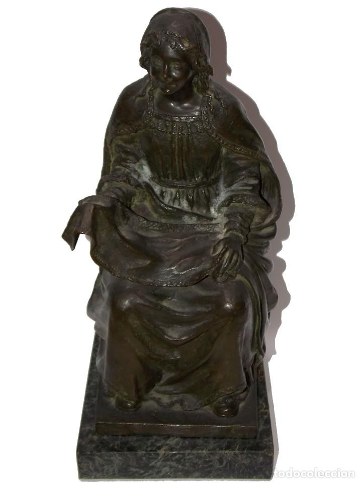 FIGURA ESCULTURA DE BRONCE SEÑORA DEL PAÑAL POR CODINA BRONCES CERTIFICADA (Arte - Escultura - Bronce)