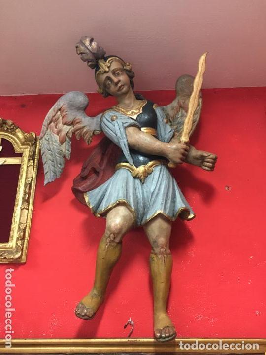 FANTASTICO SAN MIGUEL ARCANGEL TALLA MADERA SIGLO XVIII/XIX - MEDIDA 110X80 CM - RELIGIOSO - CAPILLA (Arte - Escultura - Madera)