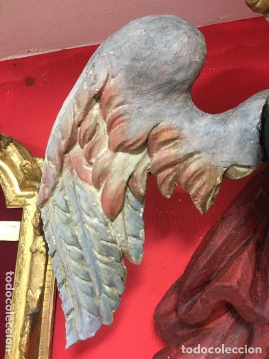 Arte: FANTASTICO SAN MIGUEL ARCANGEL TALLA MADERA SIGLO XVIII/XIX - MEDIDA 110X80 CM - RELIGIOSO - CAPILLA - Foto 3 - 115785728