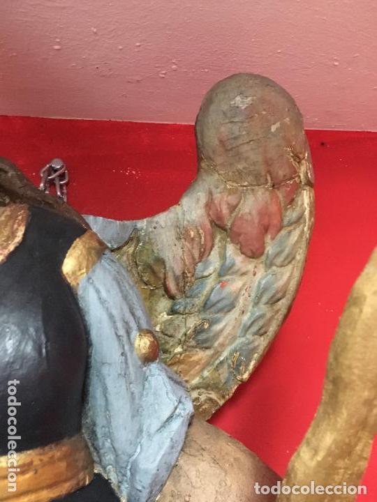 Arte: FANTASTICO SAN MIGUEL ARCANGEL TALLA MADERA SIGLO XVIII/XIX - MEDIDA 110X80 CM - RELIGIOSO - CAPILLA - Foto 4 - 115785728