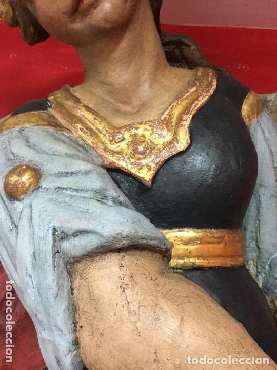 Arte: FANTASTICO SAN MIGUEL ARCANGEL TALLA MADERA SIGLO XVIII/XIX - MEDIDA 110X80 CM - RELIGIOSO - CAPILLA - Foto 5 - 115785728