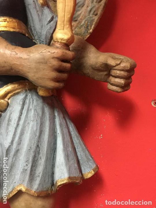 Arte: FANTASTICO SAN MIGUEL ARCANGEL TALLA MADERA SIGLO XVIII/XIX - MEDIDA 110X80 CM - RELIGIOSO - CAPILLA - Foto 9 - 115785728