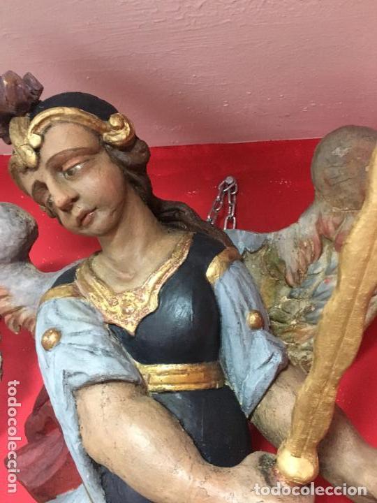 Arte: FANTASTICO SAN MIGUEL ARCANGEL TALLA MADERA SIGLO XVIII/XIX - MEDIDA 110X80 CM - RELIGIOSO - CAPILLA - Foto 10 - 115785728
