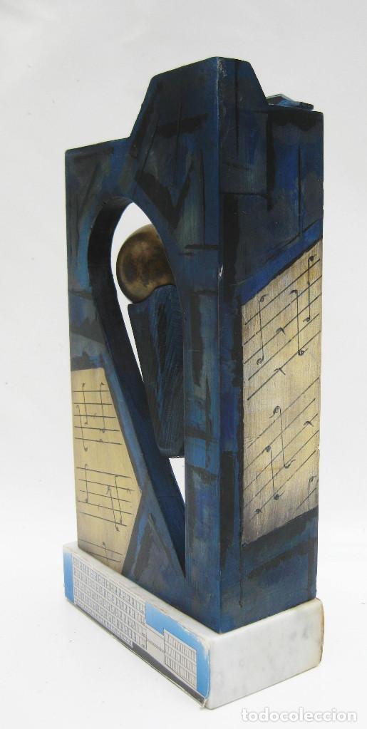 Arte: ESCULTURA PRIMERA PIEDRA CONSERVATORIO SUPERIOR DE MUSICA JOAQUIN RODRIGO VALENCIA MADERA PINTURA - Foto 4 - 114187999