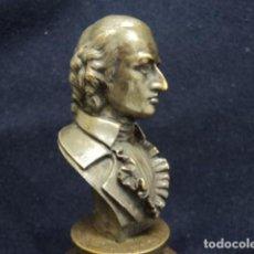 Arte: MAGNIFICO BUSTO ANTIGUO EN BRONCE SCHILLER C 1820 SIGLO XIX BRONCE PATINADO SOBRE PEANA MADERA. Lote 114286947