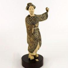 Arte: GEISHA TALLA DE MARFIL POLICROMADA- FIRMADA- JAPÓN, MEDIADOS SIGLO XX. Lote 114288015