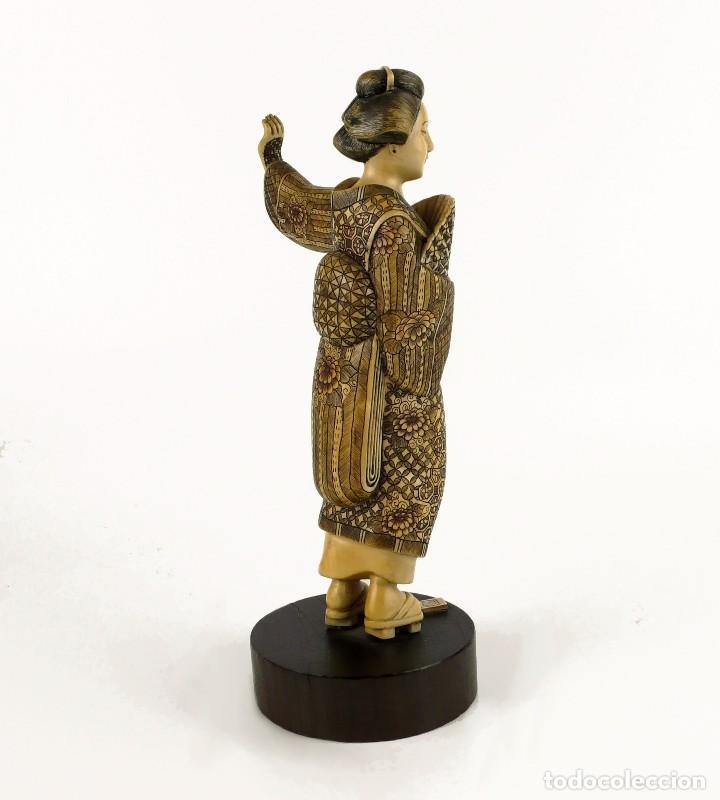 Arte: Geisha talla de marfil policromada- Firmada- Japón, mediados siglo XX - Foto 6 - 114288015