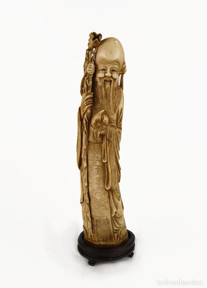FIGURA ORIENTAL DE MARFIL TALLADO Y POLICROMADA -FIRMADA- PRINCIPIOS S.XX (Arte - Escultura - Marfil)