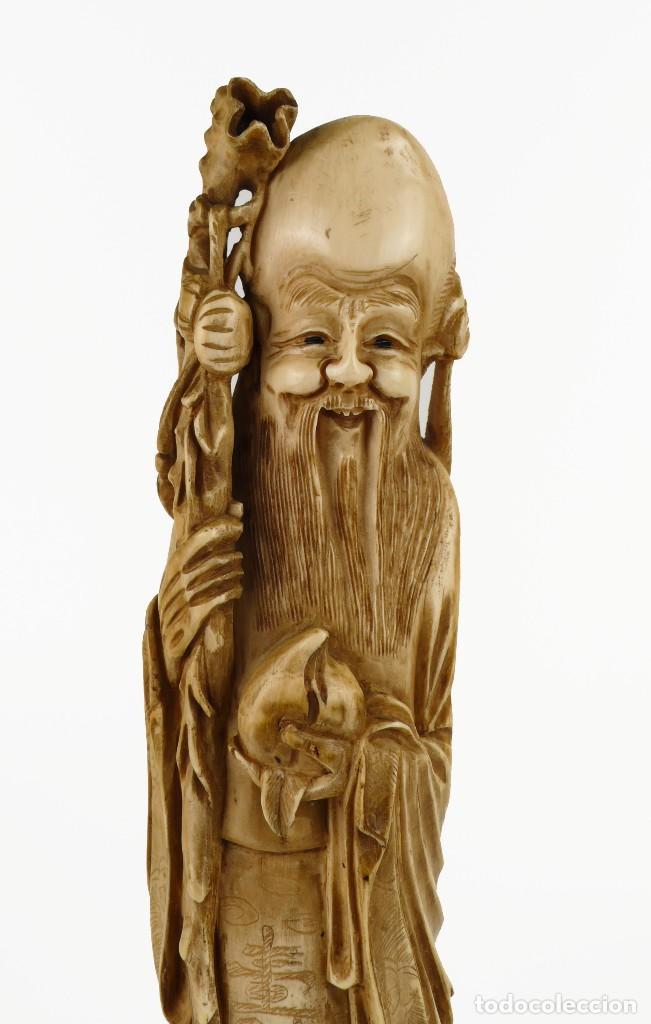 Arte: Figura oriental de marfil tallado y policromada -firmada- Principios S.XX - Foto 2 - 114339407