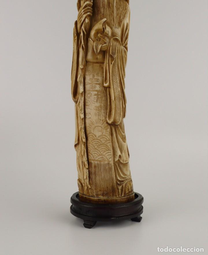 Arte: Figura oriental de marfil tallado y policromada -firmada- Principios S.XX - Foto 3 - 114339407