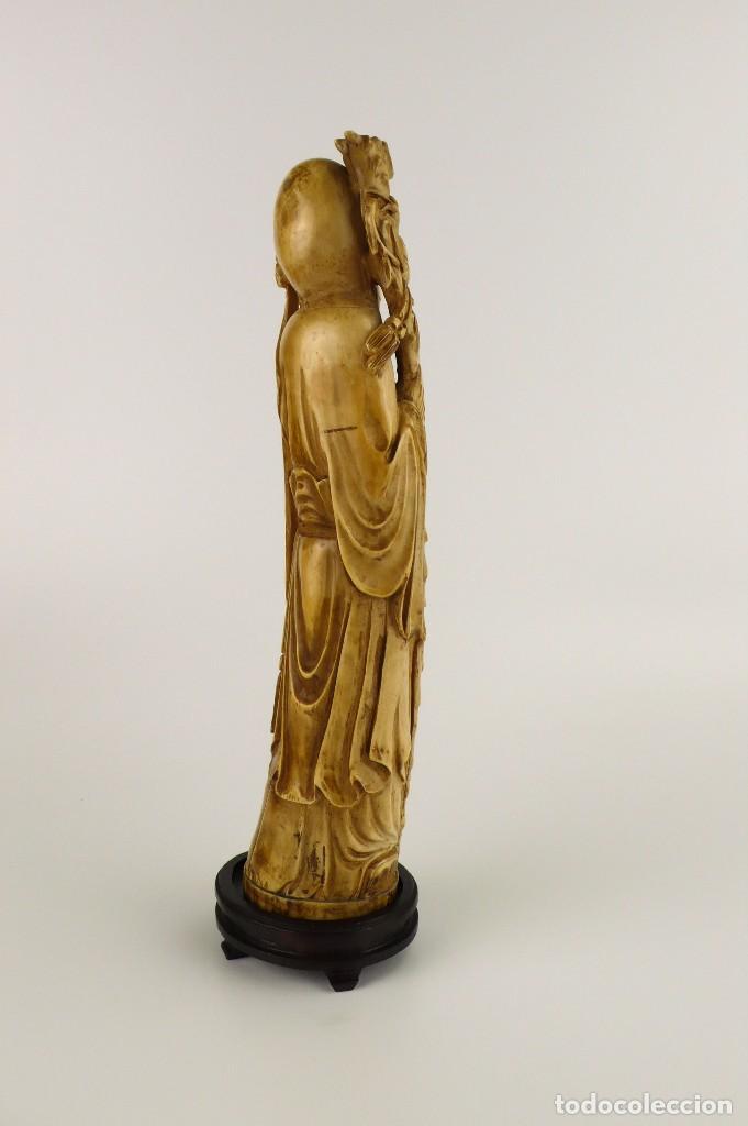 Arte: Figura oriental de marfil tallado y policromada -firmada- Principios S.XX - Foto 4 - 114339407