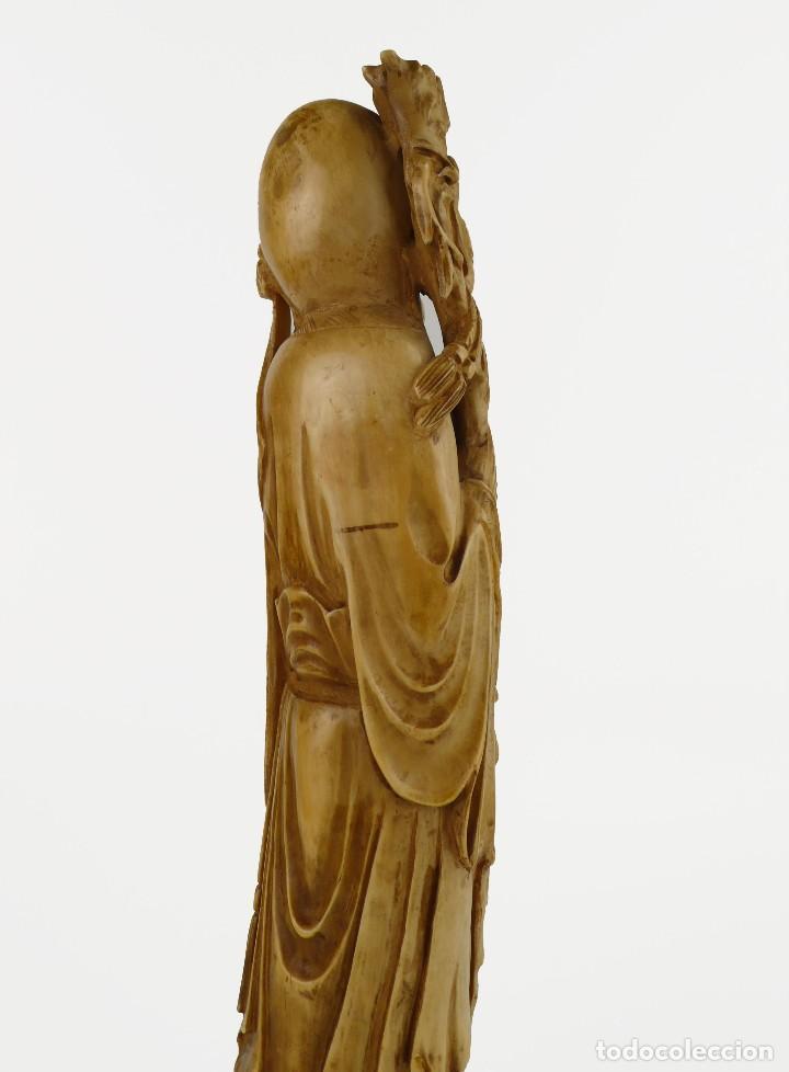 Arte: Figura oriental de marfil tallado y policromada -firmada- Principios S.XX - Foto 5 - 114339407