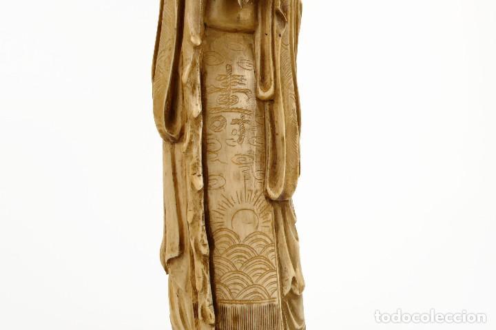Arte: Figura oriental de marfil tallado y policromada -firmada- Principios S.XX - Foto 9 - 114339407