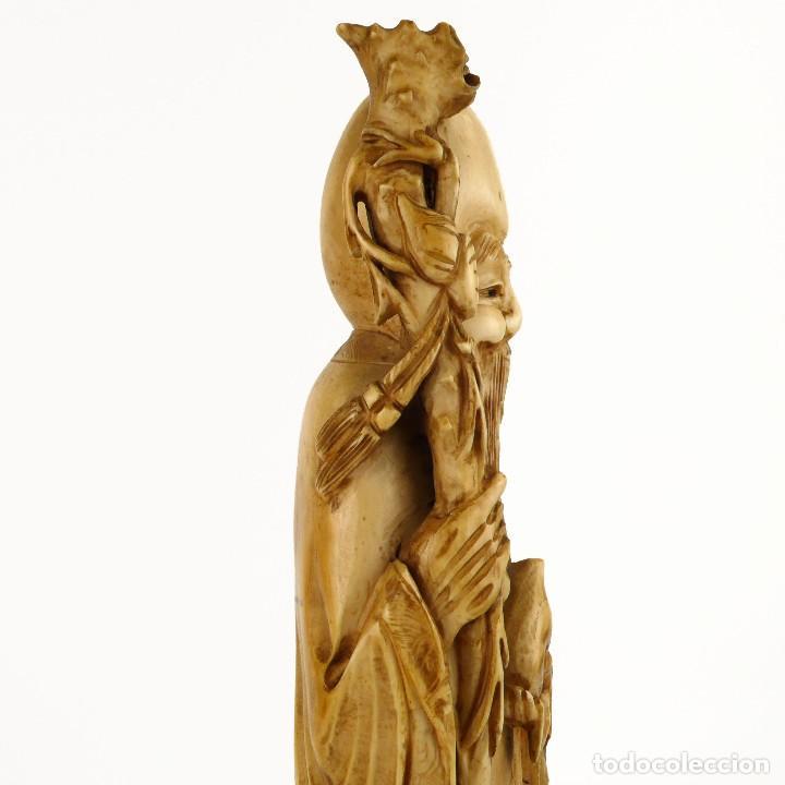 Arte: Figura oriental de marfil tallado y policromada -firmada- Principios S.XX - Foto 10 - 114339407