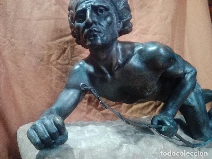 Arte: INDIO,NATIVO AMERICANO EN BRONCE 75CM LARGO SOBRE MARMOL - Foto 2 - 114433603