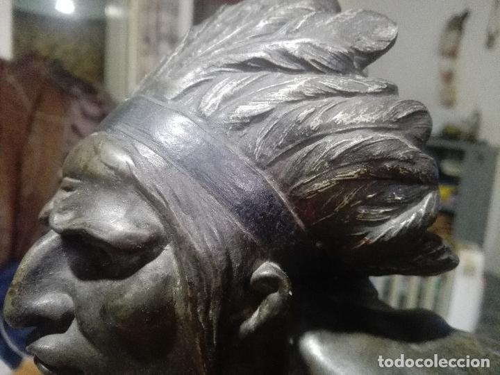 Arte: INDIO,NATIVO AMERICANO EN BRONCE 75CM LARGO SOBRE MARMOL - Foto 3 - 114433603