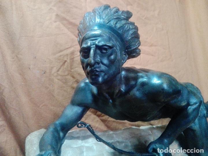 Arte: INDIO,NATIVO AMERICANO EN BRONCE 75CM LARGO SOBRE MARMOL - Foto 4 - 114433603