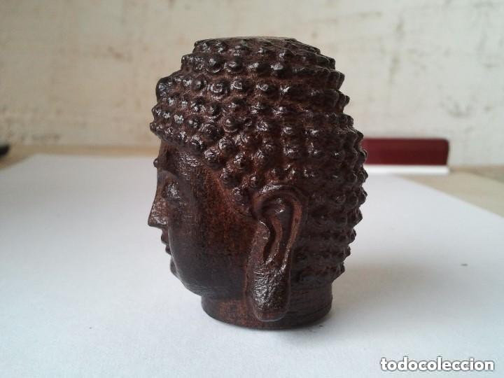Arte: Preciosa figura de madera de la cabeza de buda. Procede de China y es para la buena suerte y riqueza - Foto 2 - 147756233