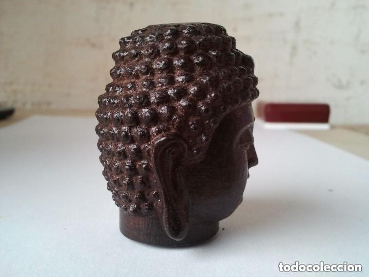 Arte: Preciosa figura de madera de la cabeza de buda. Procede de China y es para la buena suerte y riqueza - Foto 4 - 147756233
