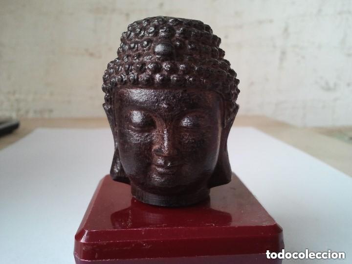 Arte: Preciosa figura de madera de la cabeza de buda. Procede de China y es para la buena suerte y riqueza - Foto 7 - 147756233