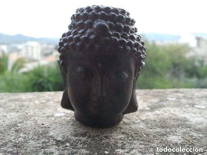 Arte: Preciosa figura de madera de la cabeza de buda. Procede de China y es para la buena suerte y riqueza - Foto 12 - 147756233
