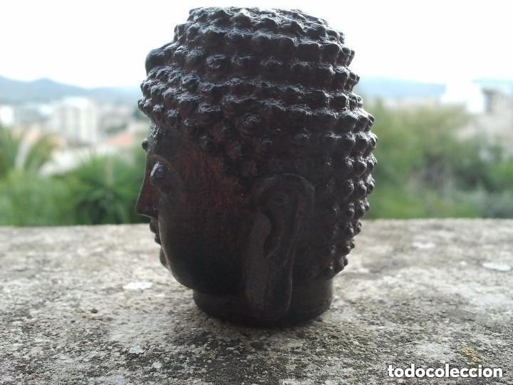 Arte: Preciosa figura de madera de la cabeza de buda. Procede de China y es para la buena suerte y riqueza - Foto 13 - 147756233