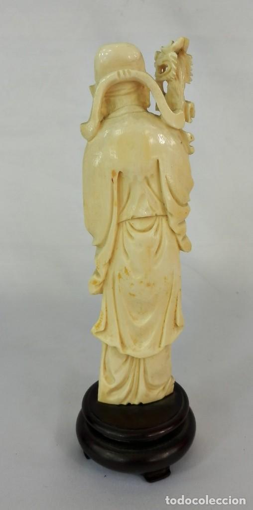 Arte: Talla de marfil s XIX SABIO 15 cm de altura SIN la peana 130 gramos aproximados de marfil - Foto 2 - 115093143