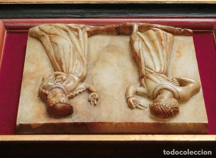 Arte: PRECIOSA PIEZA DE ALABASTRO - ORJUDO - SALAMANCA - ESCENA MEDIEVAL - RELIEVE ENMARCADO - ESCULTURA - Foto 2 - 116215311