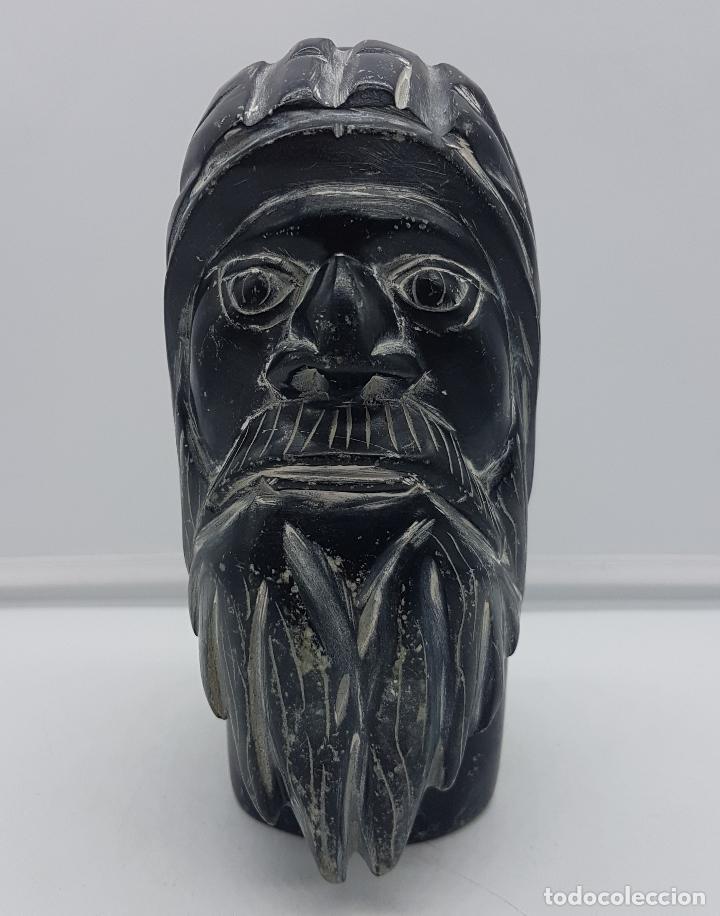 Arte: Precioso busto antiguo muy pesado tallado a mano en piedra, arte esquimo canadiense. - Foto 2 - 116676651