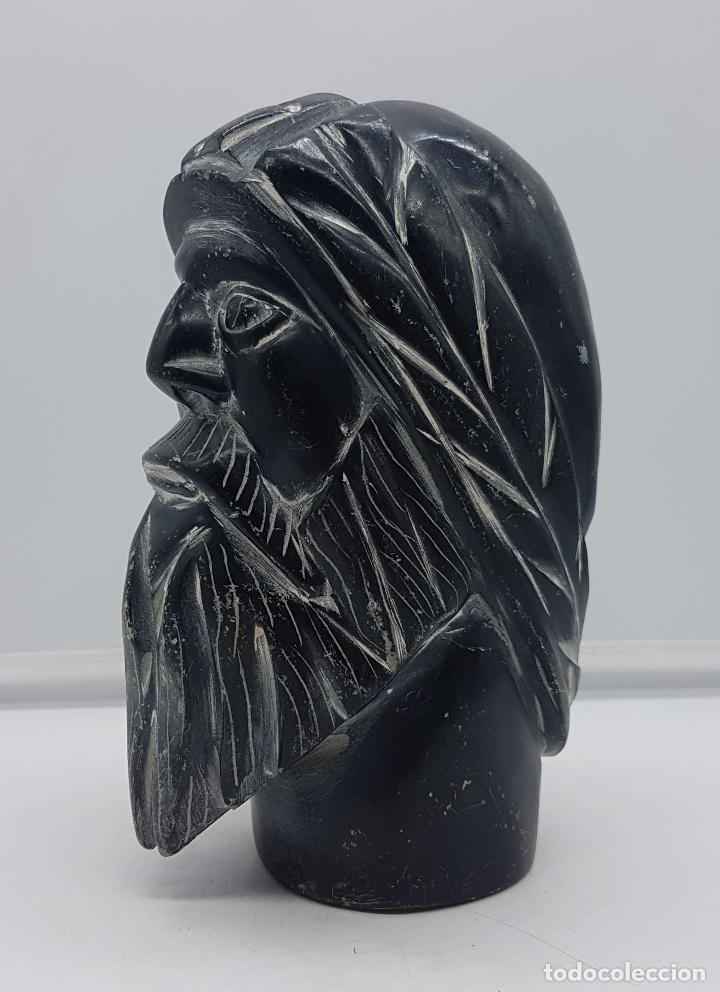 Arte: Precioso busto antiguo muy pesado tallado a mano en piedra, arte esquimo canadiense. - Foto 3 - 116676651