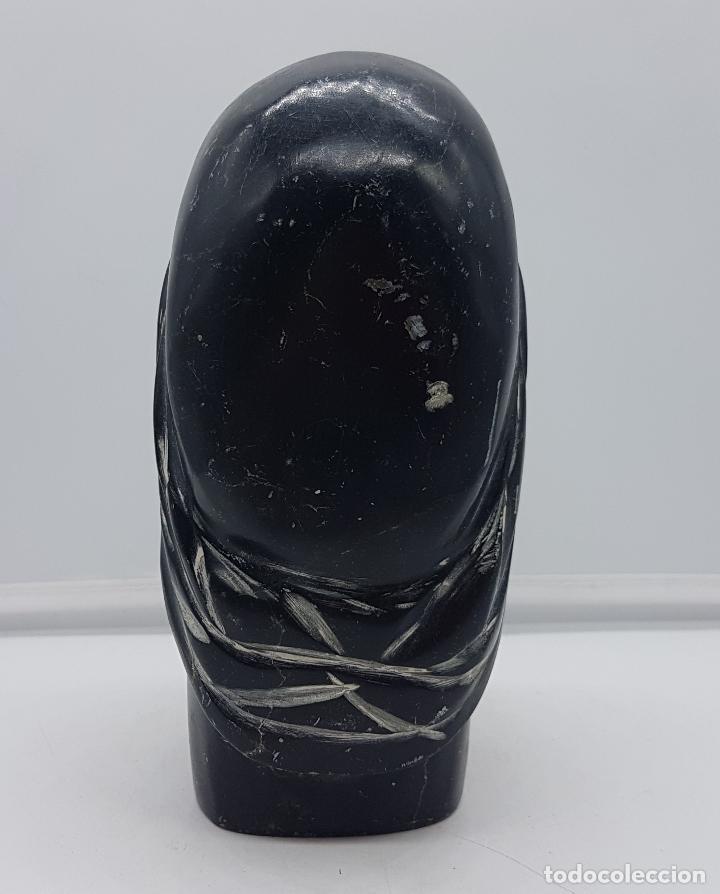 Arte: Precioso busto antiguo muy pesado tallado a mano en piedra, arte esquimo canadiense. - Foto 4 - 116676651