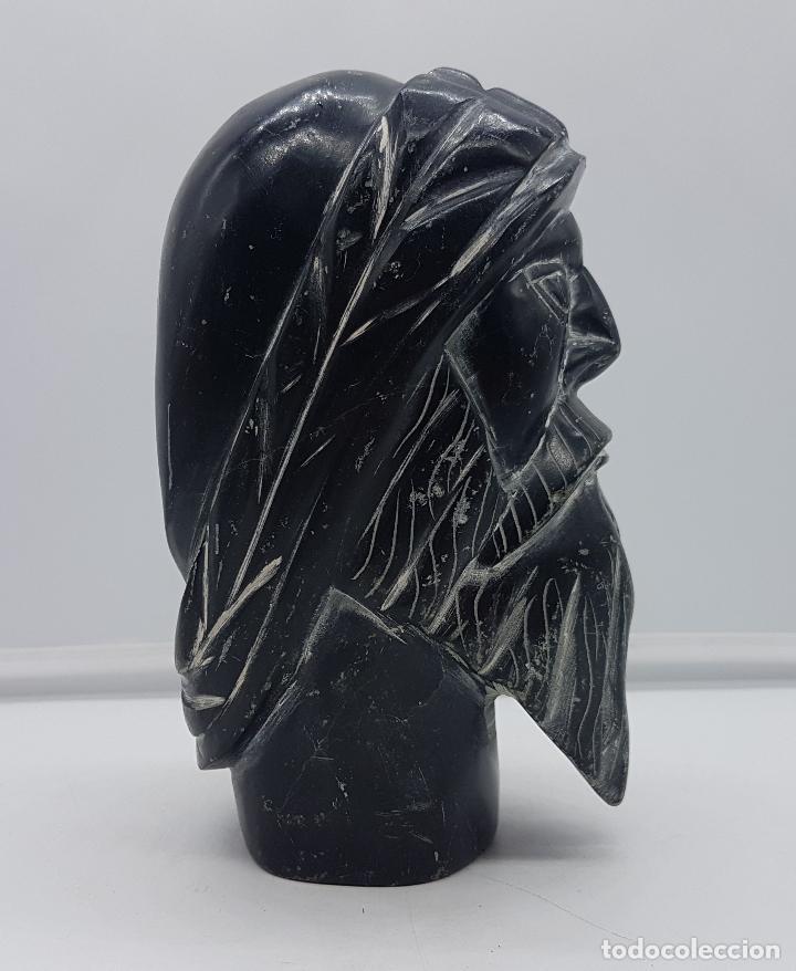 Arte: Precioso busto antiguo muy pesado tallado a mano en piedra, arte esquimo canadiense. - Foto 5 - 116676651