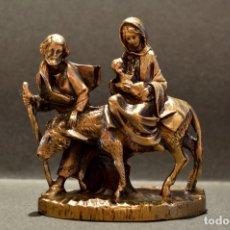 Arte: FIGURA MINIATURA EN BRONCE HUIDA DE BELEN A EGIPTO SAN JOSE LA VIRGEN MARÍA JESÚS. Lote 106659427