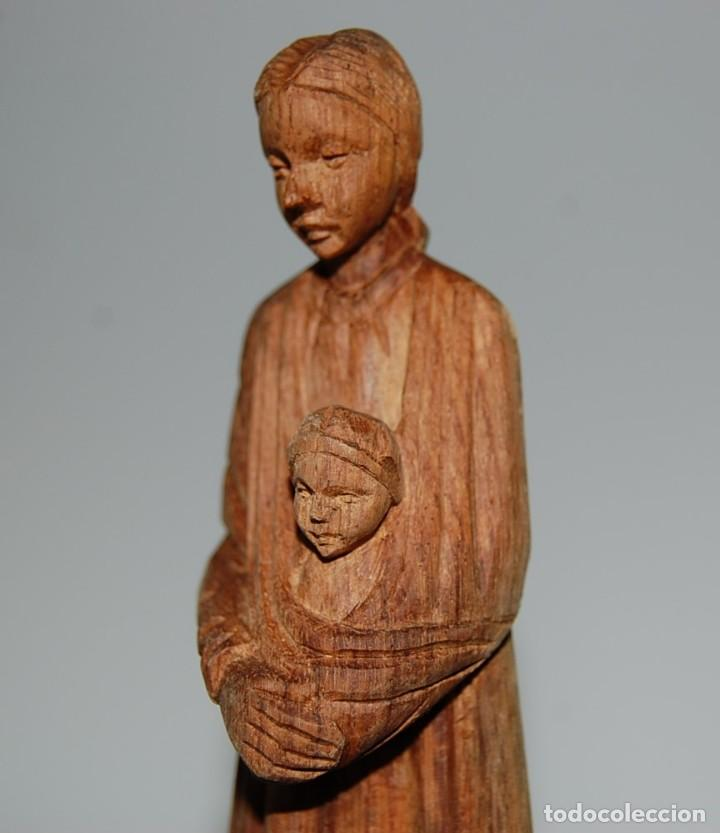 Arte: MATERNIDAD: Escultura Tallada a Mano en Madera. Madre o Virgen con Niño - Foto 3 - 116907007