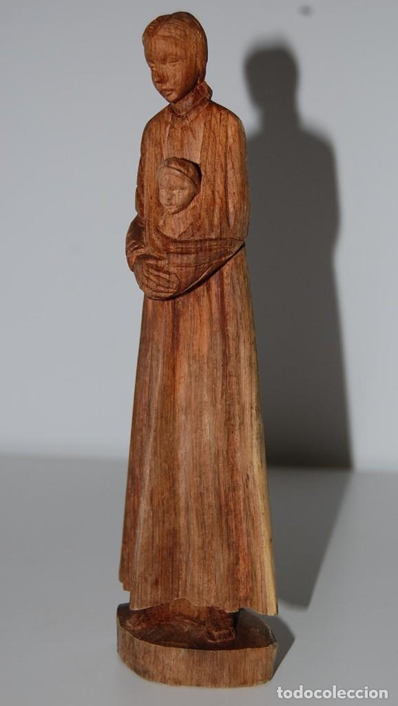 Arte: MATERNIDAD: Escultura Tallada a Mano en Madera. Madre o Virgen con Niño - Foto 7 - 116907007