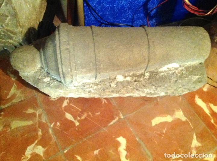 Arte: Antiguo Cañón De Piedra Decoración Escultura Medidas 62X31X24CM - Foto 3 - 117059323