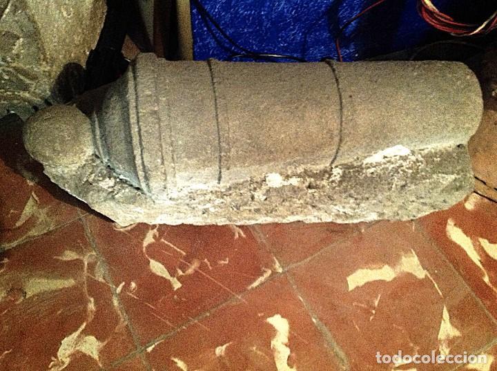 Arte: Antiguo Cañón De Piedra Decoración Escultura Medidas 62X31X24CM - Foto 4 - 117059323