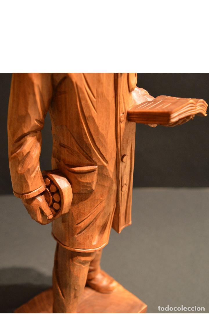 Arte: FIGURA TALLA EN MADERA INVENTOR RODAMIENTO INGENIERO SVEN WINGQUIST SUECIA 35CM DE ALTURA - Foto 9 - 117160771