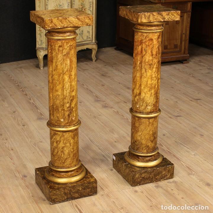 Arte: Par de columnas italianas lacadas y doradas - Foto 15 - 117269315