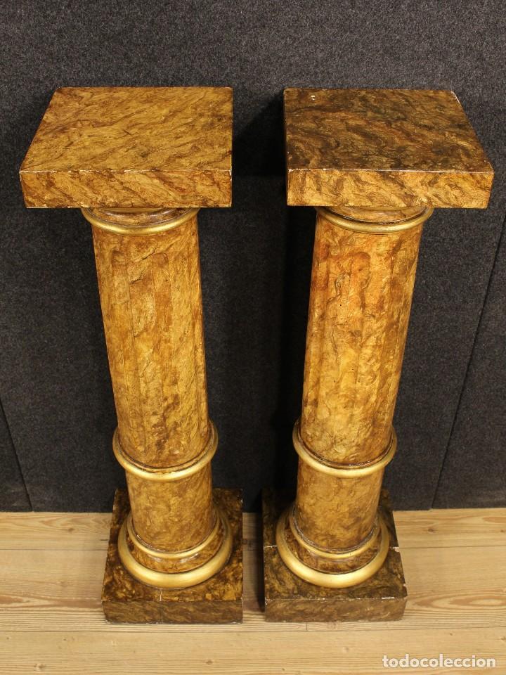 Arte: Par de columnas italianas lacadas y doradas - Foto 16 - 117269315