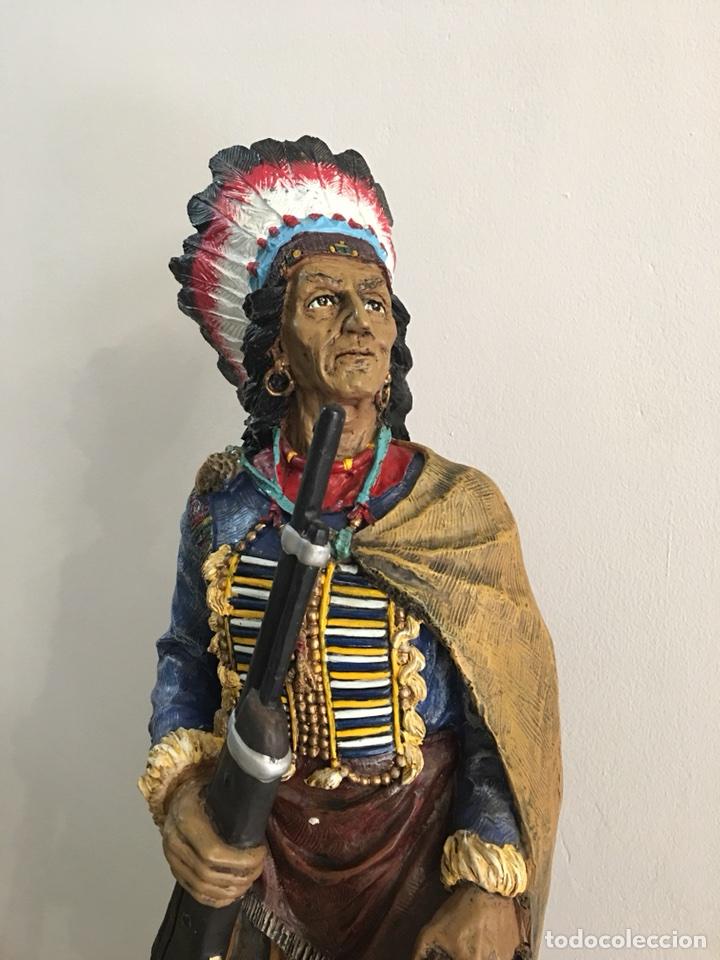 Arte: FIGURA DE INDIO APACHE AMERICANO EN RESINA- GRAN TAMAÑO - Foto 2 - 117535239