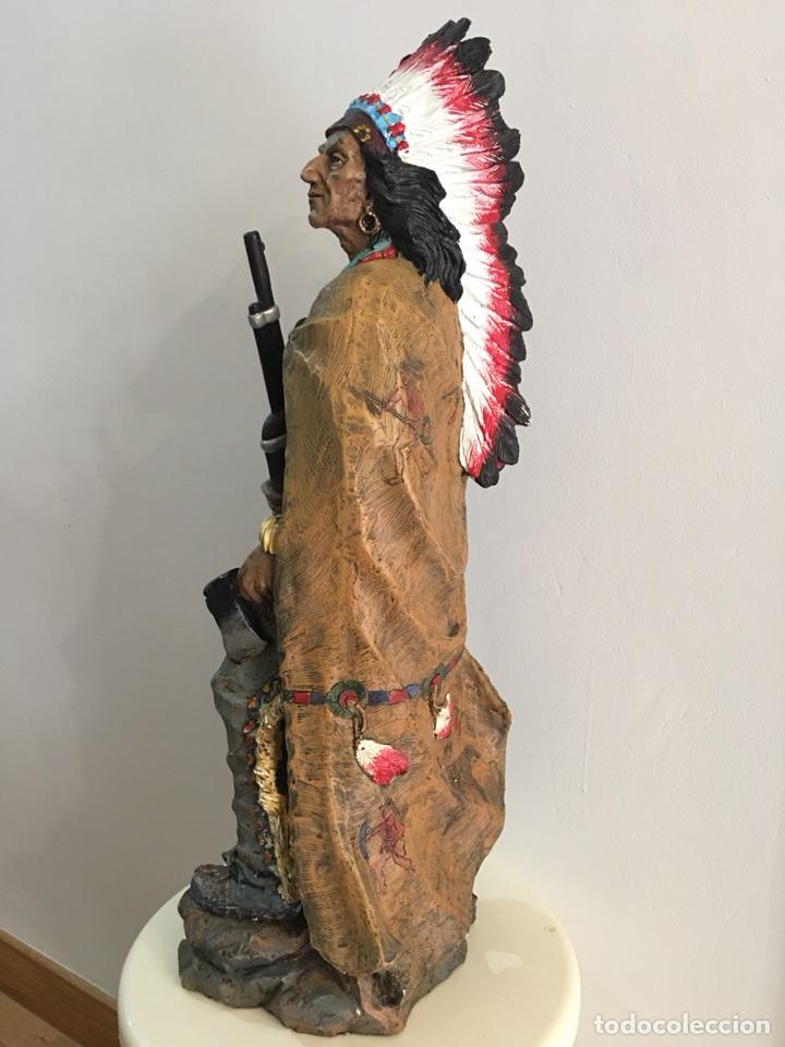 Arte: FIGURA DE INDIO APACHE AMERICANO EN RESINA- GRAN TAMAÑO - Foto 4 - 117535239
