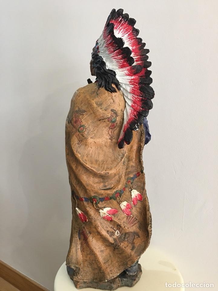 Arte: FIGURA DE INDIO APACHE AMERICANO EN RESINA- GRAN TAMAÑO - Foto 5 - 117535239