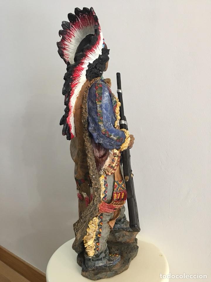 Arte: FIGURA DE INDIO APACHE AMERICANO EN RESINA- GRAN TAMAÑO - Foto 6 - 117535239